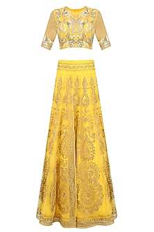 Yellow Golden Zari Embroidered Lehenga Set by Sonali Gupta