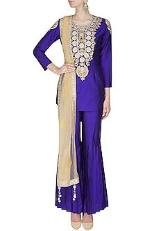 Blue dabka and sequins embroidered motifs short kurta and sharara pants set by Sonali Gupta