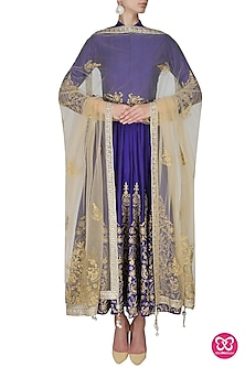 Blue and gold floral embroidered high collared flared anarkali set by Sonali Gupta