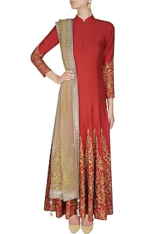 Red and gold floral embroidered high collared flared anarkali set by Sonali Gupta