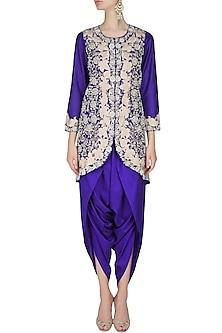 Blue floral pattern dabka, zari and pearl embroidered jacket and dhoti pants set by Sonali Gupta