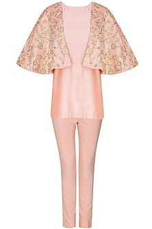 Peach floral embroidered cape attached top and pants set  by Sonali Gupta
