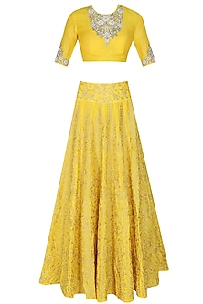 Yellow zari, pearls and sequins floral embroidered blouse and lehenga set by Sonali Gupta