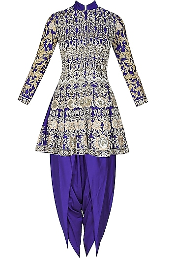 Blue floral pattern dabka, zari and pearl embroidered panelled jacket and dhoti pants set by Sonali Gupta