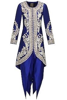 Blue dabka embroidered jacket with dhoti pants by Sonali Gupta