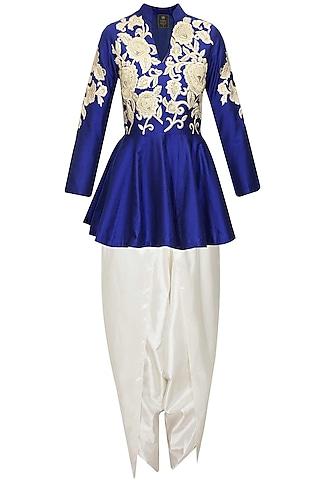 Blue dabka embroidered peplum kurta with dhoti pants by Sonali Gupta