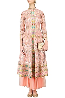 Pink Embroidered Jacket and Lehenga Skirt Set by Sonali Gupta