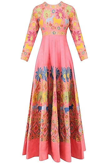 Pink Embroidered Anarkali with Dupatta by Sonali Gupta