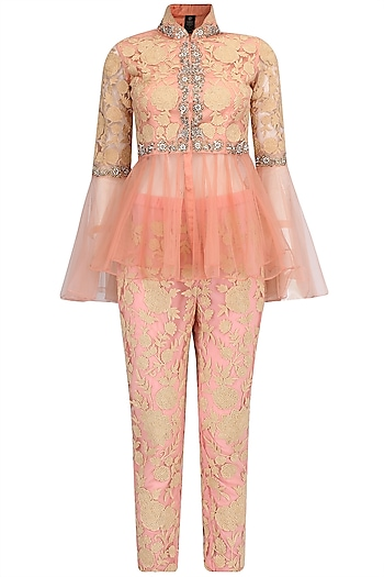 Peach Floral Embroidered Peplum Jacket and Pants Set by Sonali Gupta