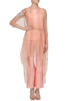 Peach Floral Motifs Cape, Top and Pants Set by Sonali Gupta