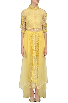 Yellow Floral Embroidered Tunic and Jacket Set by Sonali Gupta