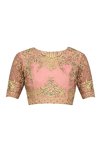 Peach and Gold Floral Zari Embroidered Blouse by Sonali Gupta