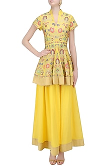 Yellow Aari Work Kurta Sharara Sets by Sonali Gupta