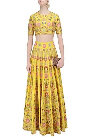 Yellow Aari Work Lehenga Set by Sonali Gupta
