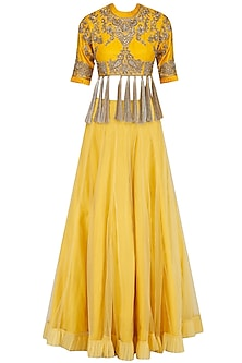 Yellow Floral Embroidered Blouse and Lehenga Set by Sonali Gupta