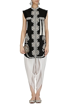 Black Floral Embroidered Jacket and Dhoti Pants Set by Sonali Gupta