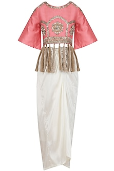 Pink Floral Embroidered Blouse and White Skirt Set by Sonali Gupta