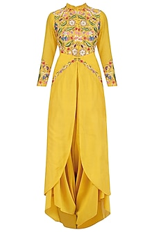Yellow Floral Embroidered Tunic and Dhoti Pants Set by Sonali Gupta