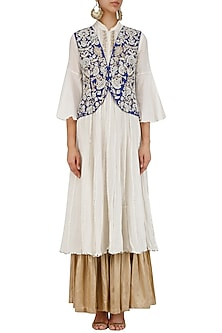 White Kurta, Sharara Pants and Blue Floral Embroidered Jacket Set by Sonali Gupta