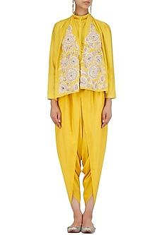 Yellow Floral Embroidered Shirt and Dhoti Pants Set by Sonali Gupta