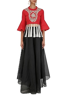 Red Floral Embroidered Crop Top and Dhoti Pants Set by Sonali Gupta