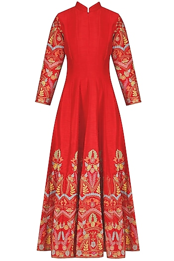 Red Floral Embroidered Anarkali Kurta by Sonali Gupta