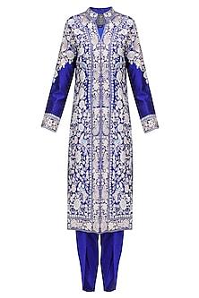 Royal Blue Thread Embroidered Jacket Kurta with Matching Dhothi Pants by Sonali Gupta