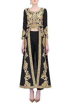 Black Zari Embroidered Front Open Dress Kurta with Straight Pants by Sonali Gupta