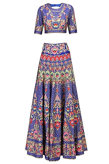 Royal Blue Floral Embroidered Jaal Work Lehenga Set by Sonali Gupta