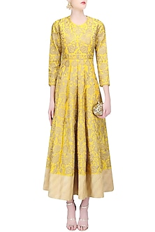 Yellow and Gold Zari Work Anarkali by Sonali Gupta