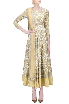 White and Gold Zari Work Anarkali with Beige Dupatta by Sonali Gupta