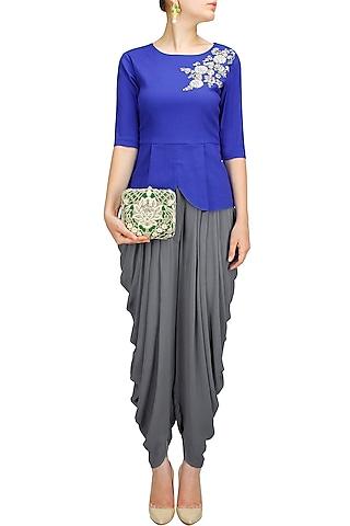 Blue dabka embroidered peplum top by Sonali Gupta