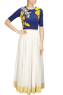 Blue Dabka Embroidered Crop Top with White Long Skirt by Sonali Gupta