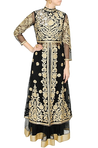 Black and gold floral embroidered long jacket with black net lehenga by Sonali Gupta