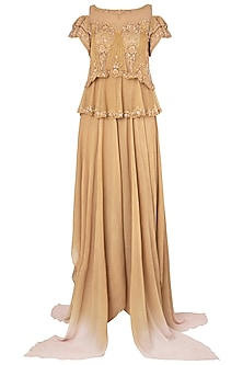 Gold Embroidered Asymmetrical Gown by Soltee By Sulakshana Monga