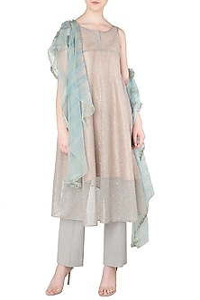 Beige Embroidered Tunic with Pants by Soltee By Sulakshana Monga