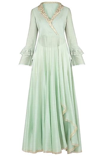 Pista Green Embroidered Angrakha Kurta with Pants by Soltee By Sulakshana Monga