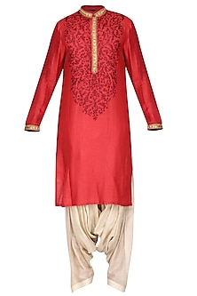 Maroon Embroidered Kurta with Salwar Pants by Soltee By Sulakshana Monga Men
