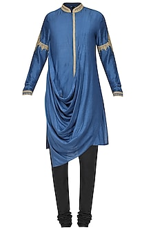 Sapphire Blue Embroidered Kurta with Churidar Pants by Soltee By Sulakshana Monga Men