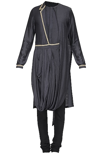 Black Embroidered Drape Kurta with Churidar Pants by Soltee By Sulakshana Monga Men