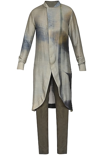Grey Printed Tail Cut Kurta with Churidar Pants by Soltee By Sulakshana Monga Men