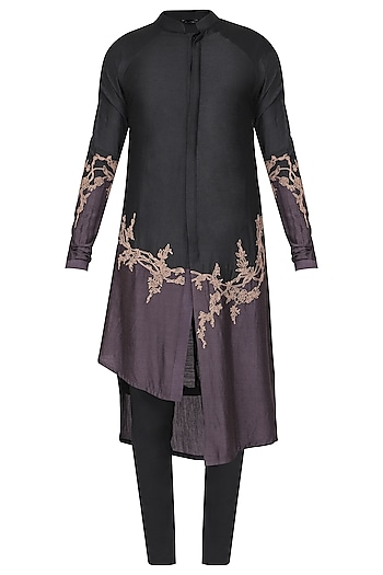 Black Patch Work Embroidered Kurta with Churidar Pants by Soltee By Sulakshana Monga Men