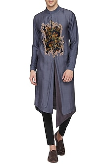 Grey Digital Patch Work Embroidered Kurta with Churidar Pants by Soltee By Sulakshana Monga Men