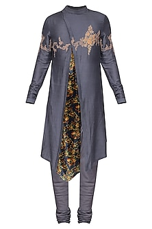 Grey Embroidered Floral Kurta with Churidar Pants by Soltee By Sulakshana Monga Men