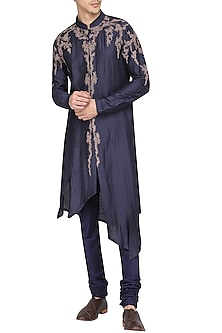 Blue Asymmetrical Embroidered Kurta with Churidar Pants by Soltee By Sulakshana Monga Men