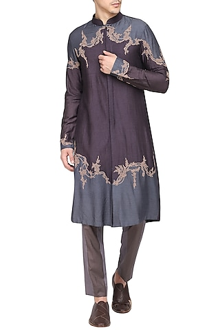 Grey Color Block Embroidered Kurta with Churidar Pants by Soltee By Sulakshana Monga Men