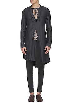 Black Indo-Western Embroidered Kurta with Churidar Pants by Soltee By Sulakshana Monga Men