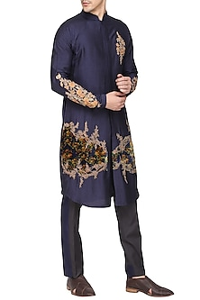 Blue Printed Embroidered Kurta with Churidar Pants by Soltee By Sulakshana Monga Men