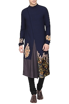 Blue Color Block Embroidered Kurta with Churidar Pants by Soltee By Sulakshana Monga Men
