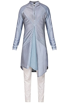Sky Blue Textured Kurta with Churidar Pants by Soltee By Sulakshana Monga Men